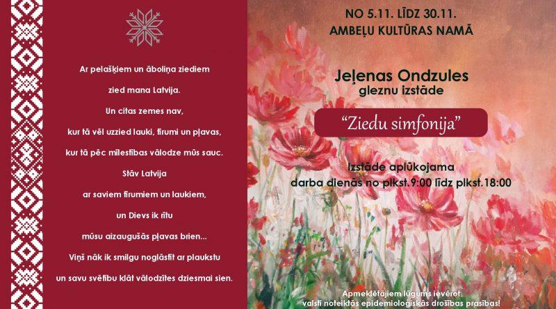 """Jeļenas Ondzules gleznu izstāde """"Ziedu simfonija"""""""
